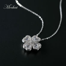 New Crystal Rotatable Four Leaf Flower Necklaces For Women Candy Color Pendant Two Way Wear Fashion Clover Summer Jewelry ZK40