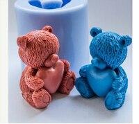 DIY Satmak sıcak 3D ayı kalp şekilli silikon kalıp fondan Kek dekorasyon kalıp El Yapımı sabun kalıp