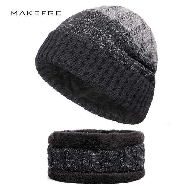 2 piece Winter Beanies Men Scarf Knitted Hat Caps Mask Gorras Bonnet ...
