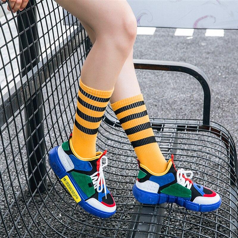 New Arrivals Four Stripes Unisex Socks Women Men Cotton Hiphop Skate Long Sock Short Meias Harajuku Happy Art Funny Female Socks in Stockings from Underwear Sleepwears