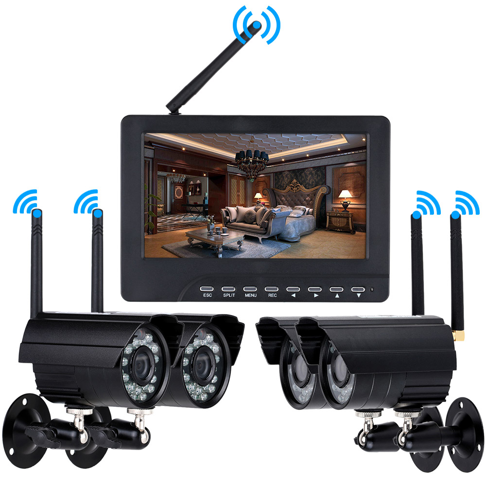 digital wireless cctv cameras home security cctv system ir night vision 4pcs bullet camera. Black Bedroom Furniture Sets. Home Design Ideas
