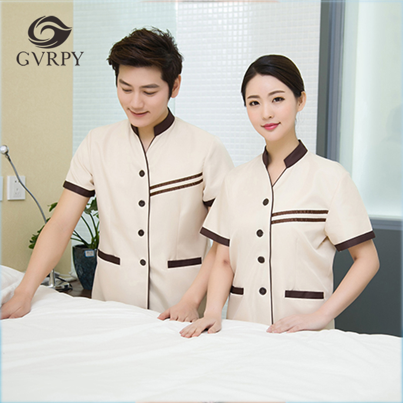 Summer Hotel Cleaning Tops Waiter Workwear Uniforms V-Neck Short-sleeve Waiter Waitress Cleaning Jacket Housekeeping Clothing