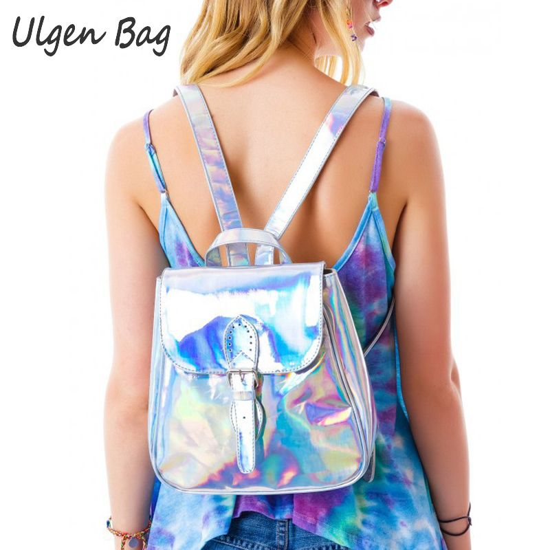 Cool Women s Rainbow Hologram Backpacks Laser Silver Color Holographic Mirror Mini Shoulder Bags for girls