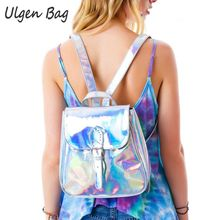 Cool Women's Rainbow Hologram Backpacks Laser Silver Color Holographic Mirror Mini Shoulder Bags for girls