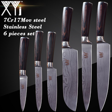 hot deal buy xyj damascus pattern kitchen knives 7cr17 stainless steel knives chef slicing santoku utility paring cooking knife accessories