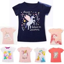 Футболки для маленьких девочек и мальчиков; детская хлопковая Повседневная летняя одежда; футболка; детские топы с единорогом; футболки с короткими рукавами для девочек