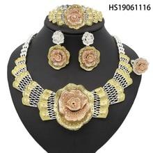 Yulaili New Dubai Gold Nigerian Wedding African Beads Zinc Alloy Jewelry Sets Rose Flower Necklace Bracelet Earrings Ring Sets недорого