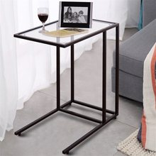 High Quality Strong Square Steel Frame Sofa End Table Coffee Simply Lamp Side Table Smooth Tempered Glass Top HW54104(China)