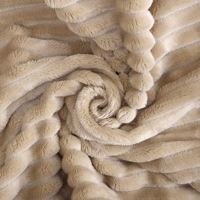침대에 대 한 슈퍼 소프트 누비 이불 플 란 넬 담요 솔리드 스트라이프 밍 크 던져 소파 커버 침대보 겨울 따뜻한 담요
