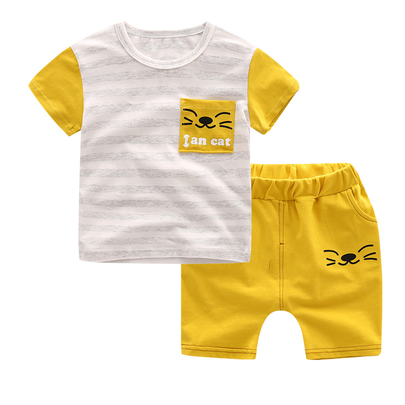 2017 New Baby Boys Clothing Set 2pcs Kids Clothes Cartoon Cat Cute Boy Suit Fashion New Boy's Summer t Shirt+Pants Toddler Suits