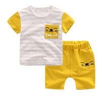2017 New Baby Boys Clothing Set 2pcs Kids Clothes Cartoon Cat Cute Boy Suit Fashion New