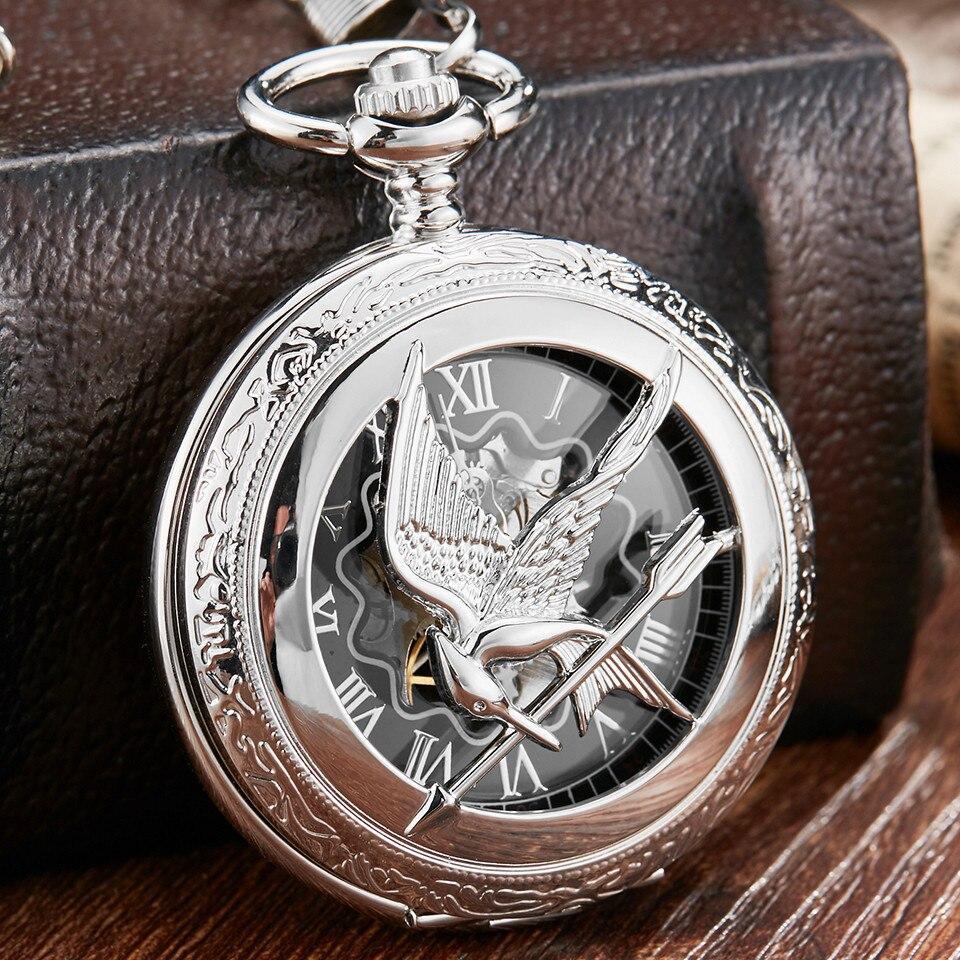 100% Wahr Vintage Hohl Hunger Spiel Steampunk Mechanische Taschenuhr & Fob Kette Mode Silber Uhren Uhr Hand Wind Relogio De Bolso SchöN In Farbe