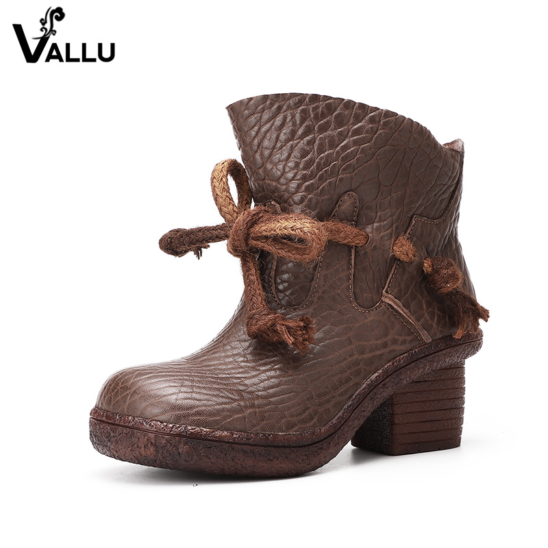 2018 VALLU High Heel Women Ankle Boots Genuine Leather Round Toes Lace Up Handmade Vintage Shoes Cowhide Leather Ladies Boots