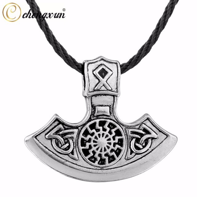 Chengxun Men Boys Protection Jewelry Norse Viking Axe Pagan Pendant