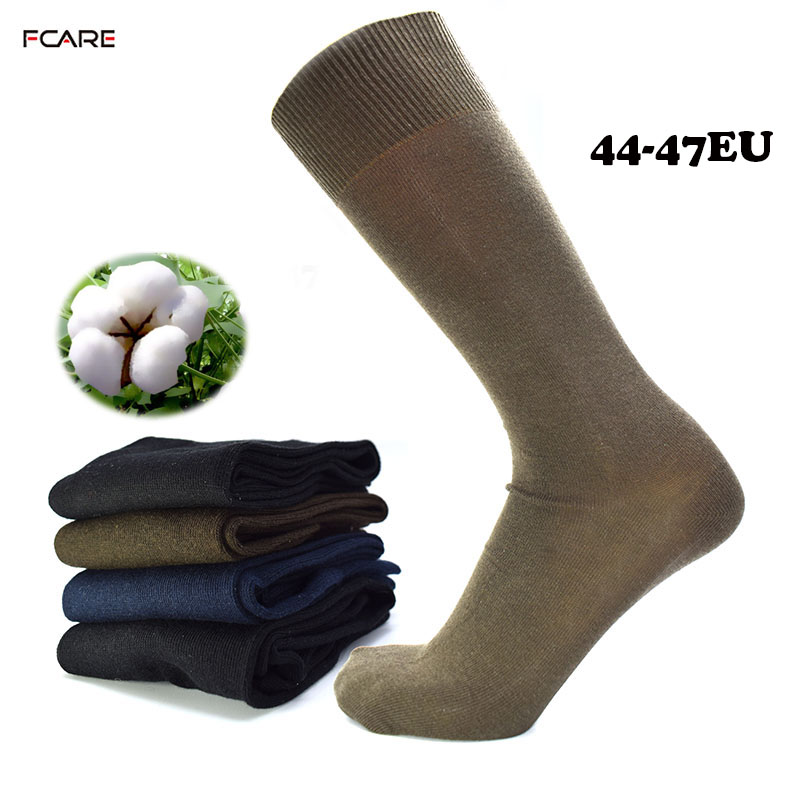 Fcare 10PCS=5 pairs long leg business 44-47 crew men dress cotton black, blue, brown and army green plus big size socks