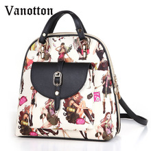 2016 Large-capasity Backpacks Women Pu Leahter School Bags for Students Fashion Character pattern Shoulder Bag Girl Book Bag