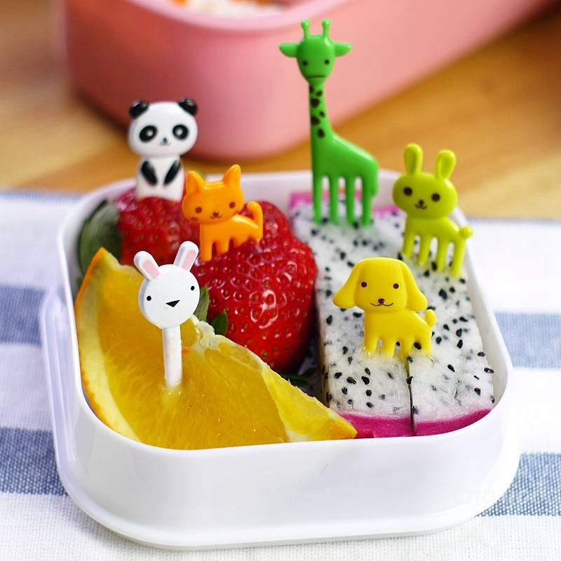 Animal Fruits Fork Plastic Animal Farm Mini Cartoon Fruit Fork Sign Fruit Toothpick Bento Lunch For