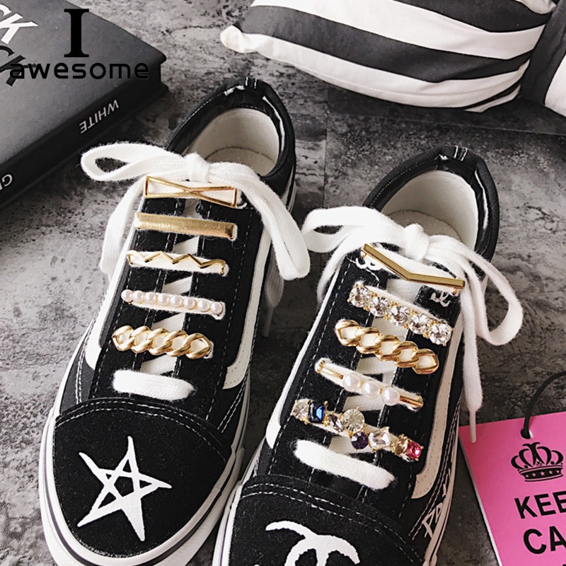 DIY Free To Match Rhinestone Crystal Metal Shoe Decorations For Shoes Lace Shoe Accessories For Casual Shoes Flats For Sneakers