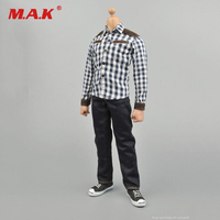 1:6 Scale Clothes Youth Plaid Shirt + Jeans + Shoes Suit Set For 12