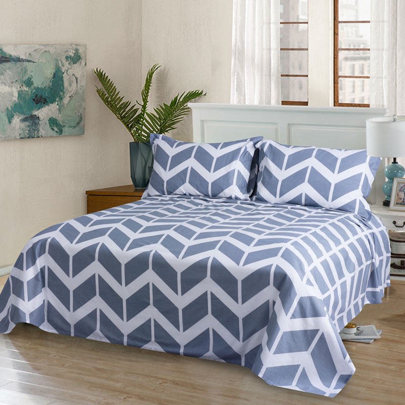1 pc Blue & Red Stripe/Diamond Pattern Flat Sheet 100% Cotton Breathable Bed Sheet Adults Reactive Printing Home Bedding