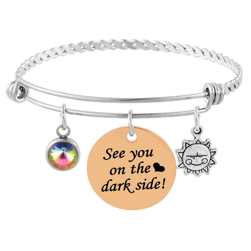 MJARTORIA 1PC Eclipse Series Bracelets&Bangles Round Carved Letters Sun Charm Bracelets Jewelry for Women Gifts Stainless Steel