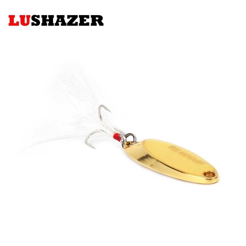 Lushazer Lichtgevende Metalen Lokken Voor Vissen Lepel Lokken 10G 15G Goud/Zilver Zwart Bas Lokken Visaas harde Lokken Gratis Verzending