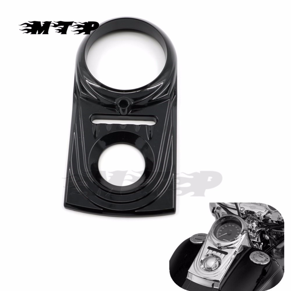 Motorcycle Front Instrument Cauges Dash Panel Insert Decorative Cover For Harley Softail Dyna Fat Boy Wide