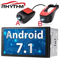 Rhythm 2 din Android 7.1   Car     radio   for Bluetooth stereo gps autoradio remote control dvd player 2usb android DVR dash cam camera