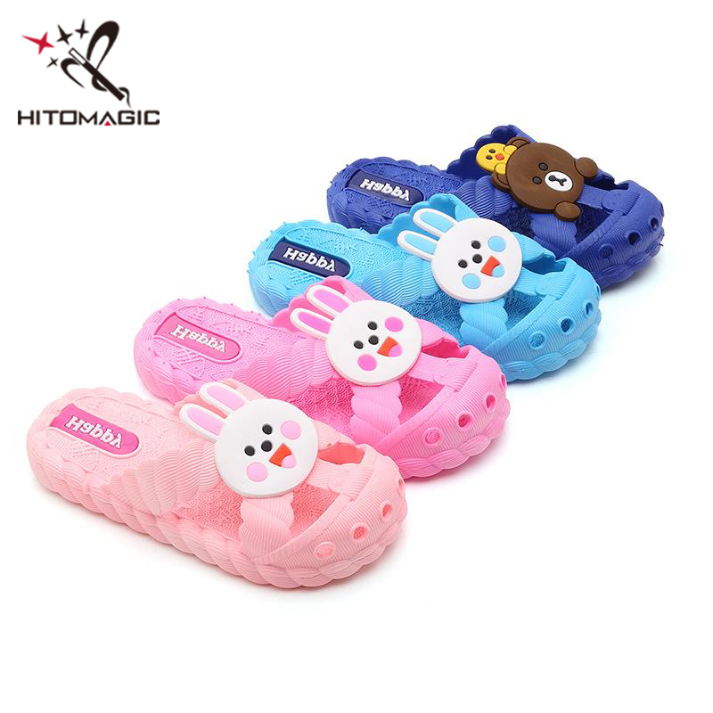 HITOMAGIC Girls Slippers Baby Boys Kids Children Slippers Child Boy Shoes For Girl Indoor Summer 2018 Cartoon Breathable Pink
