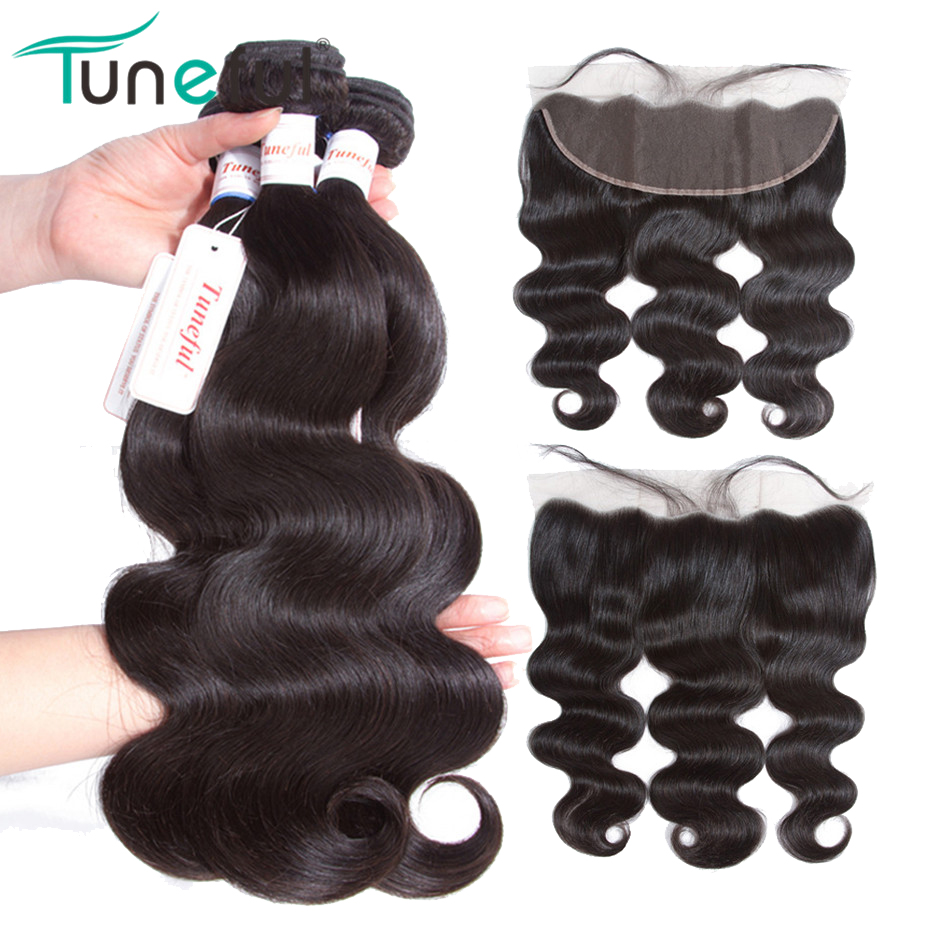 Malaysian Body Wave Bundles With Frontal Tuneful 100% Human Hair Weft Non Remy Pre Plucked Lace Frontal Closure With Bundles