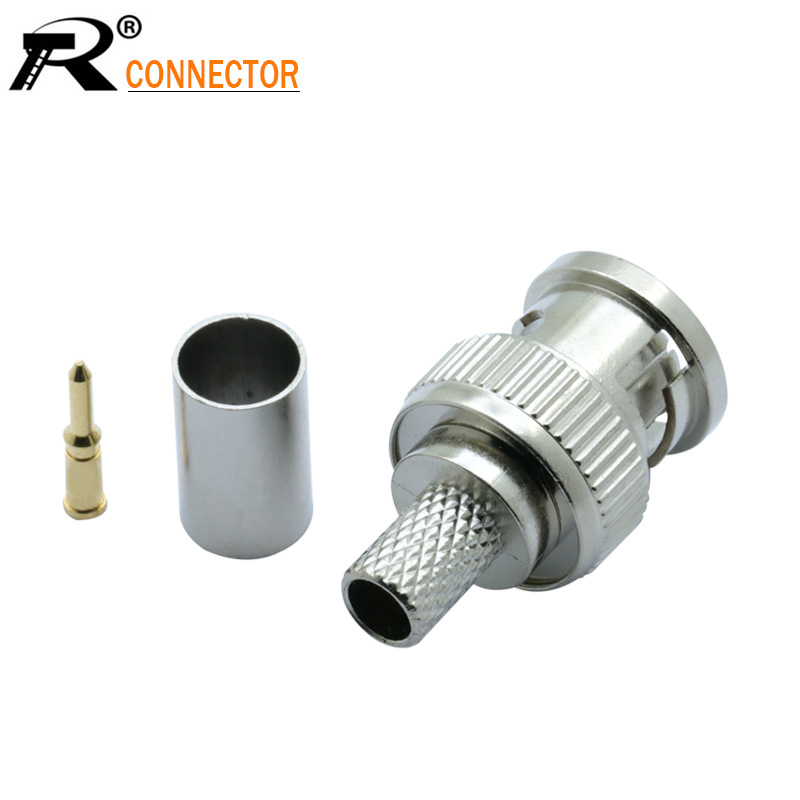 50pcs BNC MALE CRIMP TYPE CONNECTOR FOR CCTV SYSTEM BNC FEMALE JACK COUPLER CONNECTOR RG58/RG59/RG6