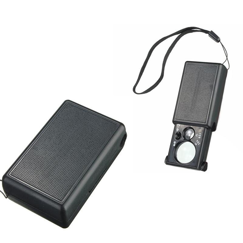 Pocket 30X-60X Jewelers Eye Glass Folding Loupe Magnifier with LED & UV Lights