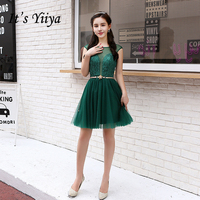 It's YiiYa 2017 New Real Picture Sleeveless Cocktail Dresses Lace Up Knee Length Party Simple Illuson Vintage Cocktail Gown X071