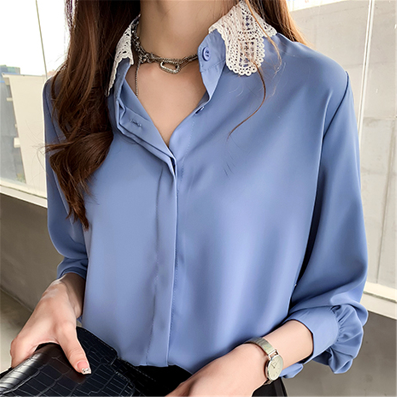 Women Shirts Chiffon Blouse Women Korean Office Lady Lace Patchwork Shirts Plus Size Tops Woman Long Sleeve Shirt Blouses Female