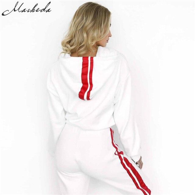 2 Piece Set Women Tracksuit Sportswear Casual White Red Sweat Pants Hooded Cropped Sweatshirt Hoodie 2