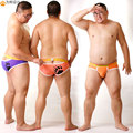 2016 New Arrival Bear Claw Plus Size Men's Expose Half Buttocks Briefs Sexy Shorts Gay Bear Underwear Purple & Orange M L XL XXL