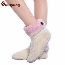 Suihyung Winter Warm Indoor Shoes Soft Plush Home Slippers Coral Fleece Floor Sock Ladies Cotton-padded Shoes Non-slip Footwear