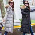 New big fur collar hooded knee length long thick down coat plus size women coat solid color warm female outwear parkas MZ1059