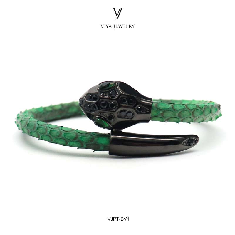 VJPT-BV1---Python leather snake bracelet ,fashion snake head Python leather bracelet,charms snake bracelet women men (19)