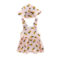 Summer Baby Jumpsuit Hat Two Pieces Sets Infant New Fashion Print Rompers Young Children Vest Clothing