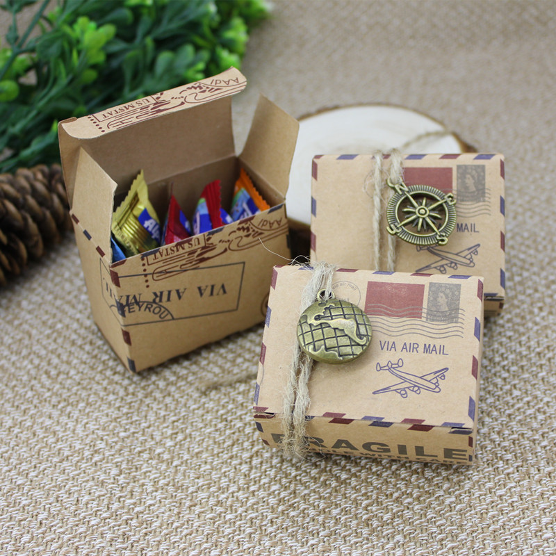 10pcs/lot Vintage Decor Compass mail candy boxes creative kraft paper candy box Baby Shower Birthday Party Favor Candy Gift Box