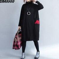 DIMANAF Big Size Dress Winter Women Thick Flocking Vestidos Female Lady Loose Turtleneck Embroidery Dress Elegant Clothing Black