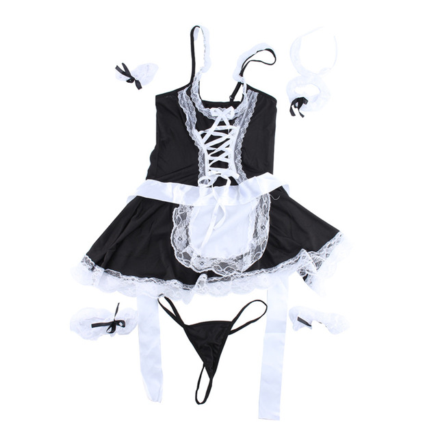 Sexy Lingerie Cosplay French Apron Maid Servant Lolita Sexy Costume Babydoll Dress Uniform Erotic Lingerie Role play Hot