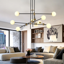 Nordic Postmodern Creative Minimalist Magic Bean Glass Chandelier Living Room lustre LOFT Line Molecular lighting