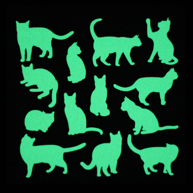 13pcs Cat on A Sheet Luminous Switch Sticker Bedroom Decor Glow in the Dark Wall Stickers for Kids Rooms Laptop Phone Decoration