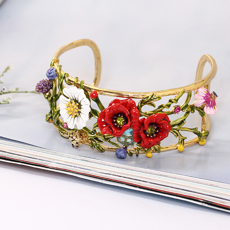 LES Nereides Plants Series Enamel Red Rose Daisy Crystal Bangle For Woman Gold Plated Jewelry Free Shipping valentine's day Gift