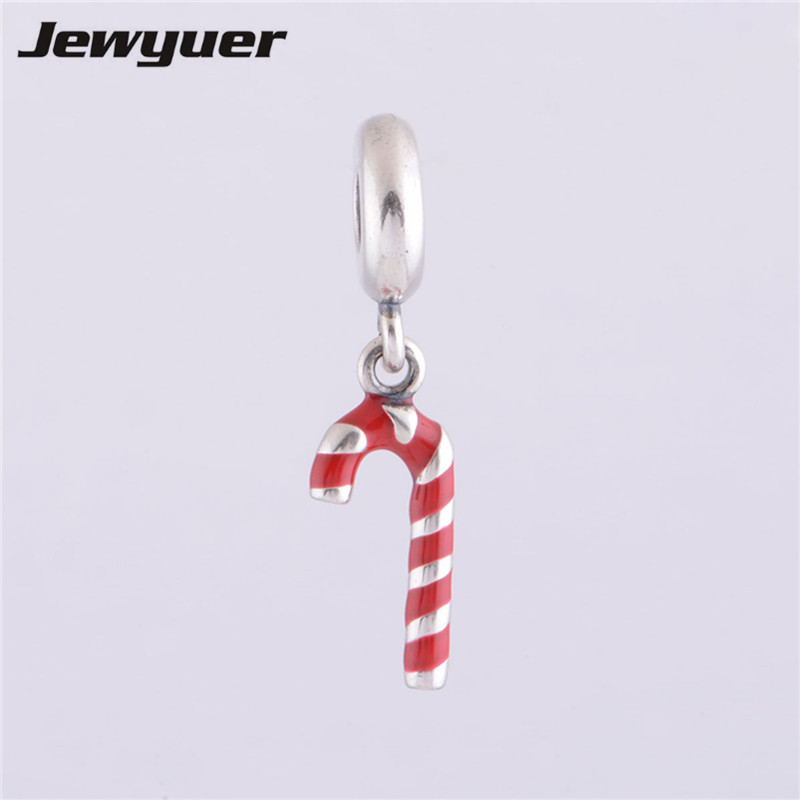 Fit European brand Bracelets DIY Making candy cane red enamel 925 sterling silver floating charms Christmas true religious DA479
