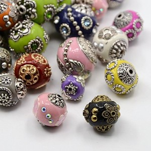 Image 1 - 100pcs 11 21mm Handmade Indonesia Beads with Alloy Cores Round Mixed Style Mixed Color DIY Jewelry Making Handicrafts Supplies
