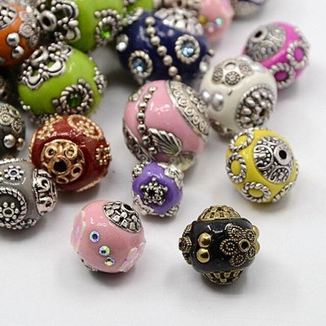 Contas artesanais de 11 21mm 100 peças, núcleos da liga, estilo misto redondo, cores mistas, fabricação de joias diy materiais de artesanato