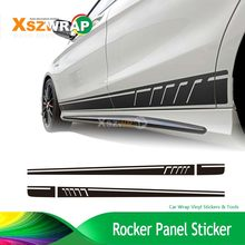 507 Side Stripes Decals C63 AMG Edition For Mercedes Benz W204 C Class Stickers-3D Carbon Fibre Rocker Panel Sticker(China)